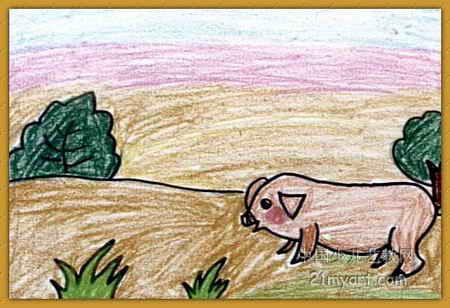 快乐的猪儿童画图片