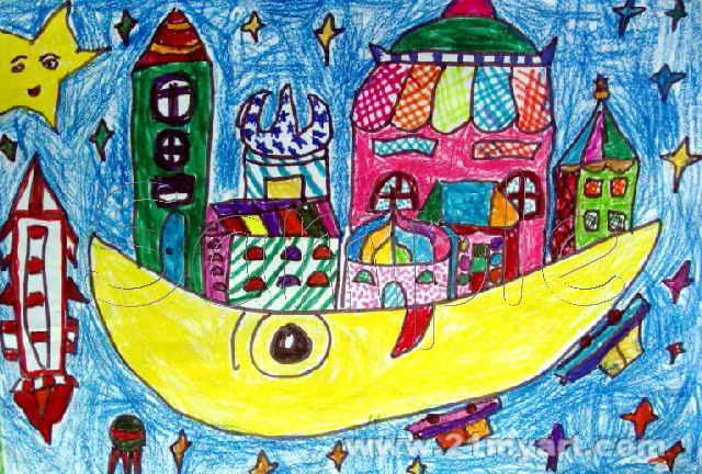 月亮城儿童画属于油画棒画,长432px,宽640px,作者李一飞,男,6岁,就读
