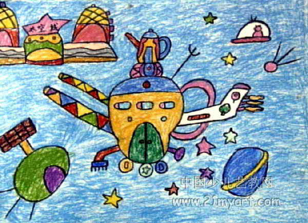 神秘的夜空儿童画2幅