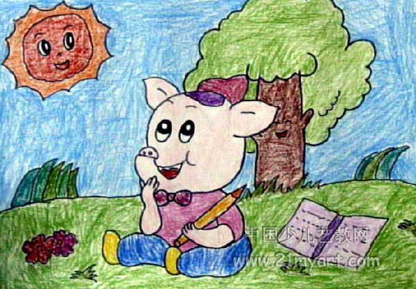小猪写诗儿童画