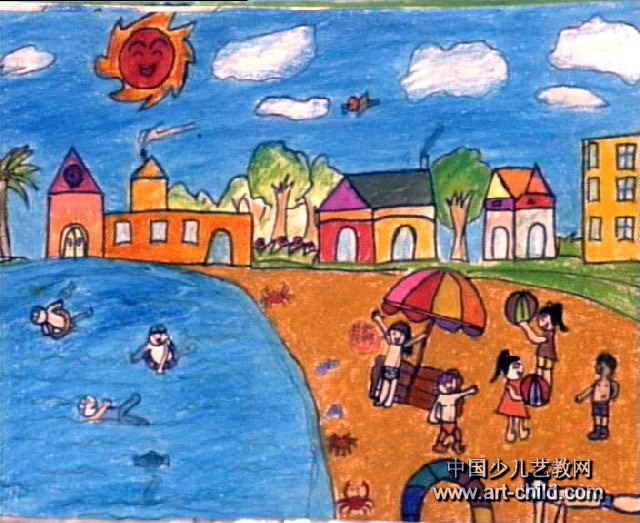 快乐的夏天儿童画3幅