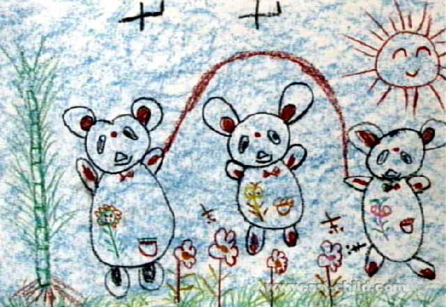 我们在跳绳儿童画