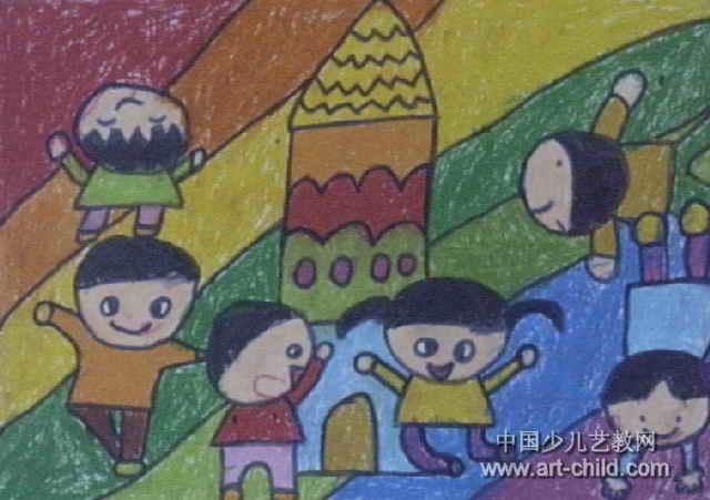 彩虹上的幼儿园儿童画图片