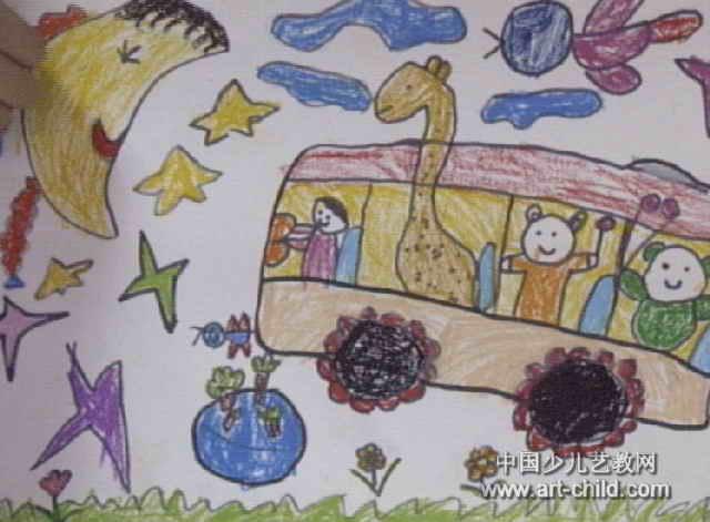 我要升中班了简笔画-我升到天上啦儿童画属于中国画,长471px,宽640px,作者董玥,来