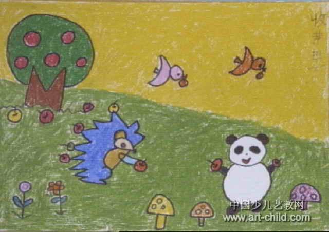 简笔画 儿童画 儿童油画棒画 >> 收苹果儿童画图片   收苹果儿童画,此