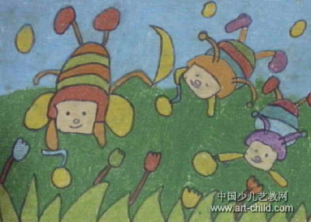 夏天的萤火虫儿童画图片