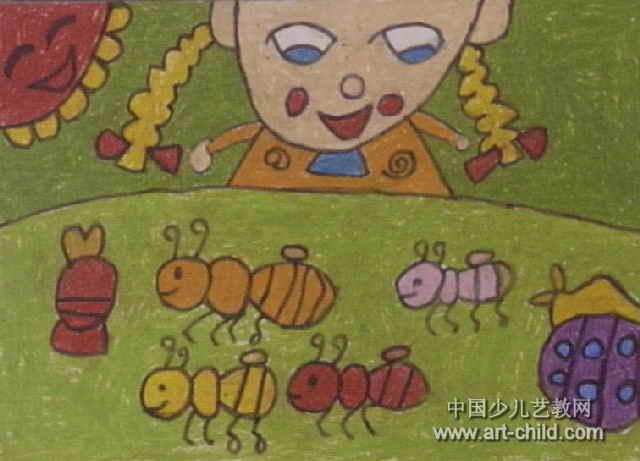 蚂蚁搬家儿童画,这幅油画棒画作品长461px,宽640px,作者刘心雨,女,6岁,就读扬州市伊斯兰幼儿园.