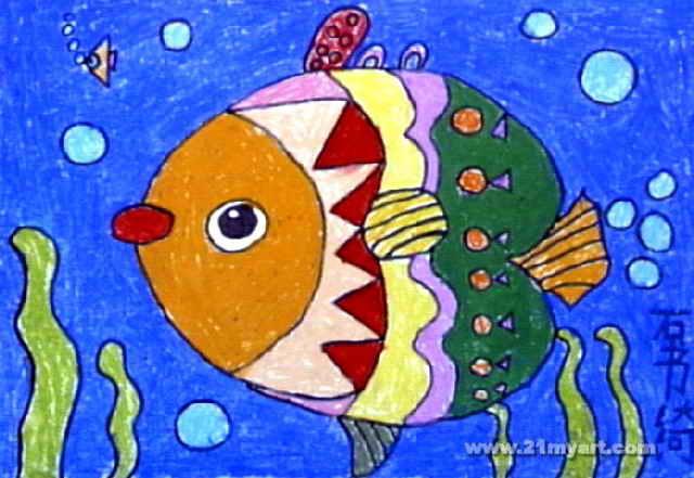 线条鱼简笔画-美丽的鱼儿儿童画