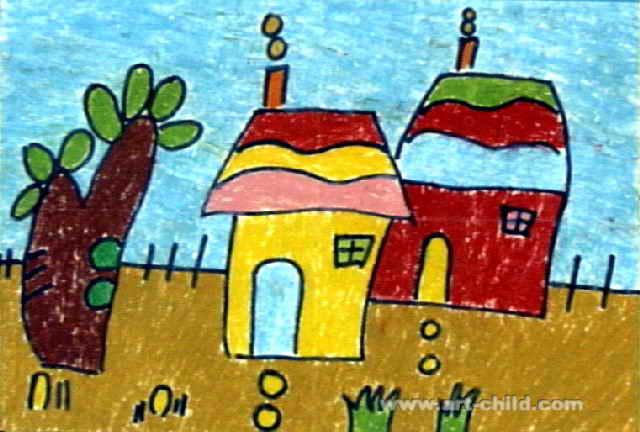 美丽小屋儿童画