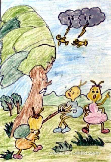 蚂蚁搬家儿童画属于油画棒画,长640px,宽440px,作者徐雨欣,女,8岁,来自霞浦县实验小学.