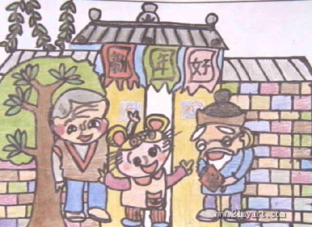 庆新年儿童画6幅