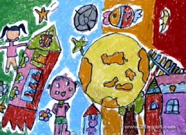 太空幻想儿童画作品欣赏图片