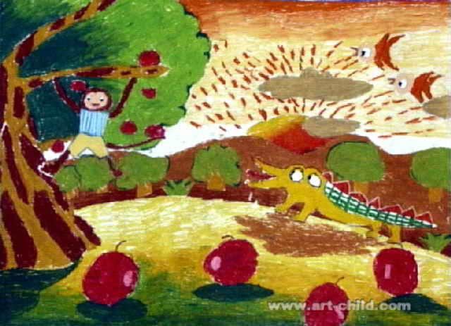 小猴子与大鳄鱼儿童画,此幅油画棒画尺寸为463x640像素,作者吴殿雄,男