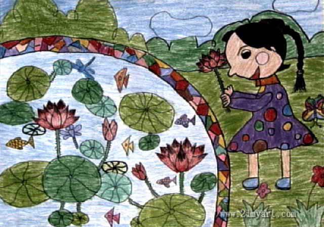 美丽的荷花池儿童画