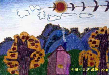 家乡的秋天儿童画2幅