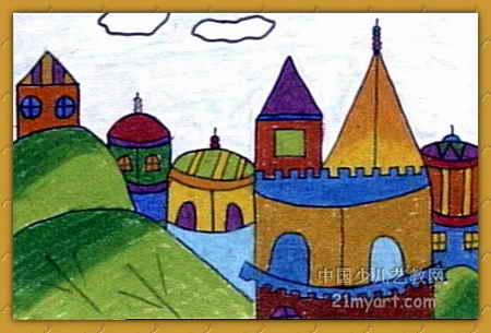 美丽的城堡儿童画11幅 第6张图片