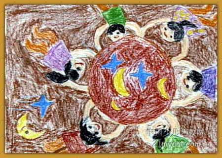 接月亮儿童画属于油画棒画