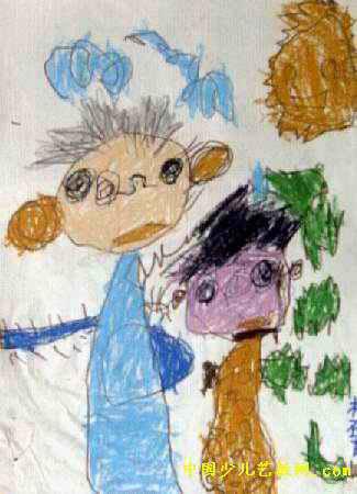 两个好伙伴儿童画
