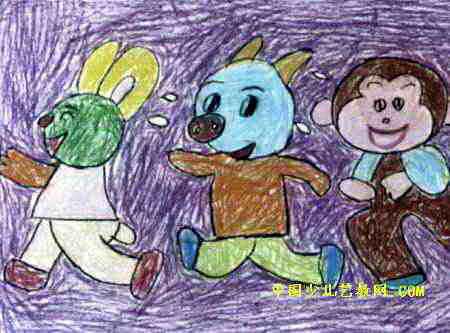 运动会儿童画2幅