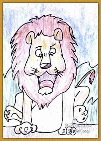 苗苗简笔画网 更; 简笔画 儿童画 儿童油画棒画 >> 森林国王儿童画