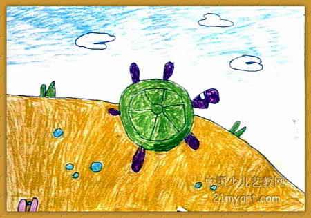 沙滩漫步儿童画,此幅油画棒画大小为316x450像素,作者谢怡婷,来自中原