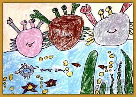 快乐的一家子儿童画2幅