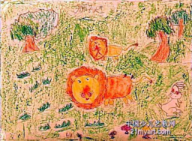 狮子大王儿童画属于油画棒画,大小为470x640像素,作者李栋,来自郑州市