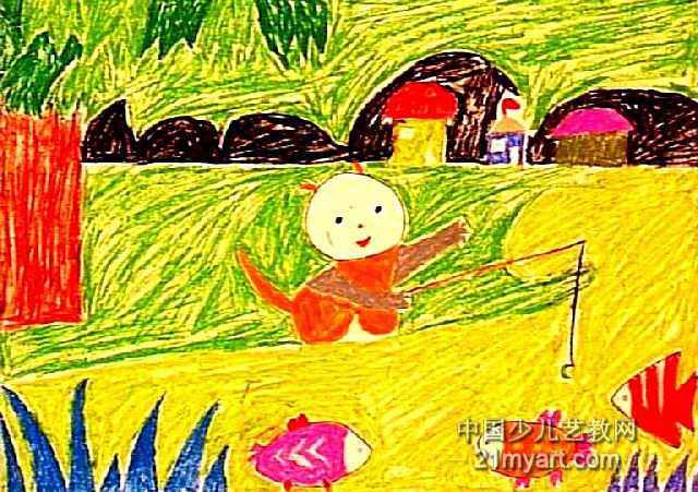 小猫钓鱼儿童画(四)7幅(第4张)