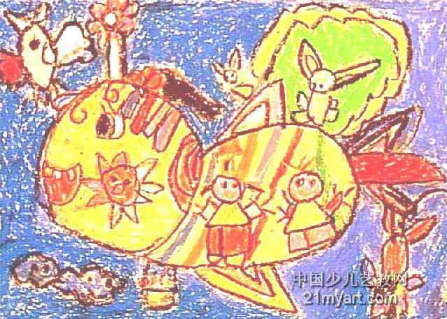 我的小鸟飞机儿童画作品欣赏