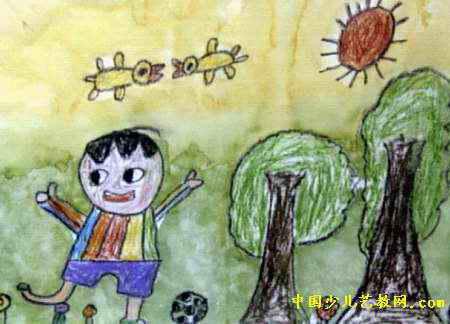 踢足球儿童画13幅(第10张)