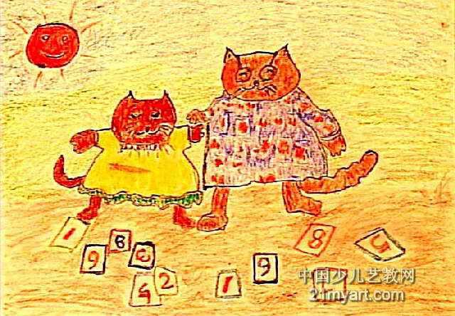 小猫学数数儿童画