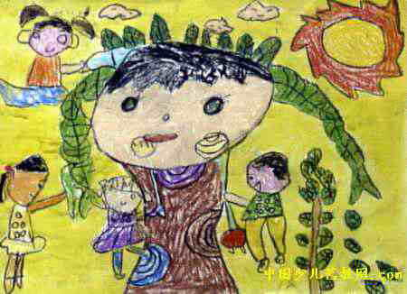 给大树洗澡儿童画,此幅油画棒画尺寸为326x450像素,作者于鑫桂,男,4岁