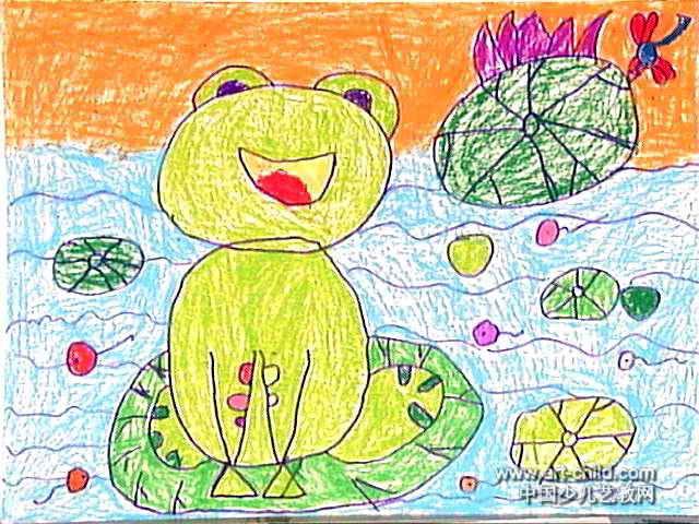 小青蛙爱唱歌油画棒儿童画