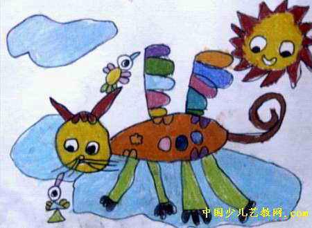 会飞的猫儿童画