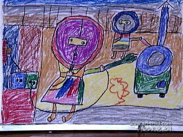 长汽球_小小电焊工儿童画作品欣赏