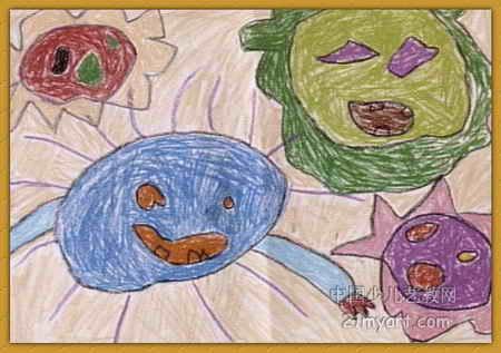 太阳一家儿童画2幅