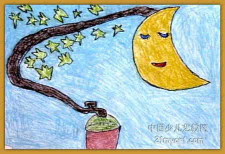 月亮水儿童画属于油画棒画