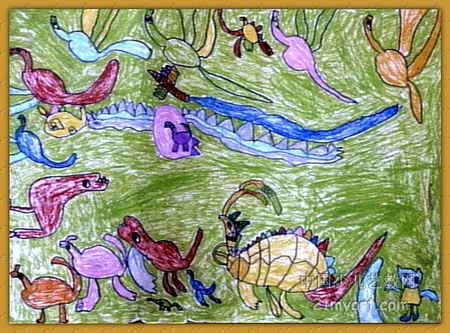 恐龙群儿童画属于油画棒画