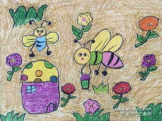孔雀公主儿童画2幅 桥上桥下儿童画