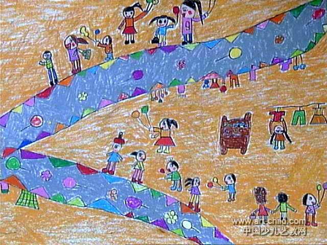 简笔画 儿童画 儿童油画棒画 >> 热闹的超市儿童画作品欣赏   热闹的