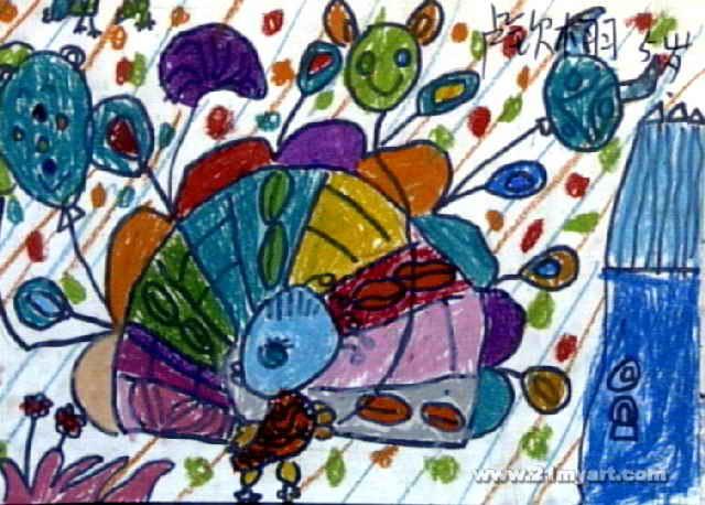 精彩表演油画棒儿童画