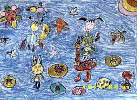 梦幻天使儿童画,这幅油画棒画作品长329px