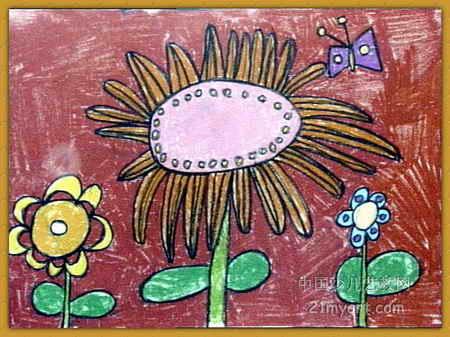 奇怪的花儿童画2幅