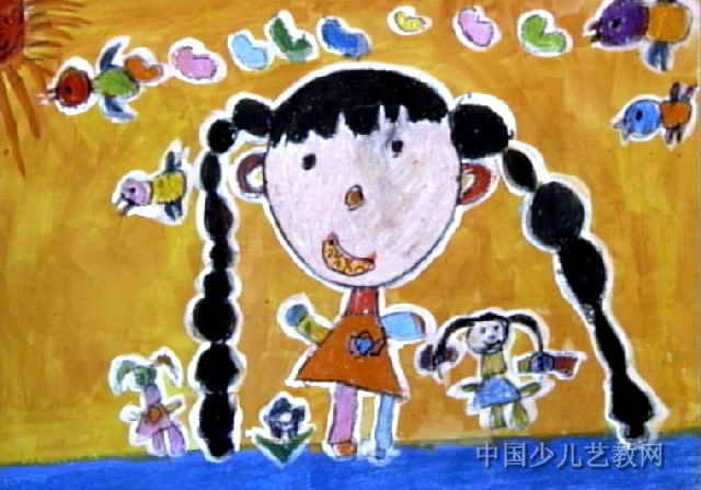 长大后儿童画,这幅油画棒画作品长447px