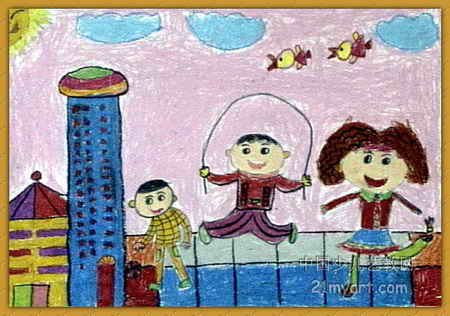 快乐童年儿童画属于油画棒画,大小为316x450像素,作者郭未佳,来自郑州