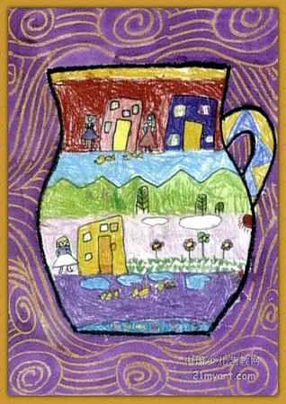 彩色花瓶儿童画图片