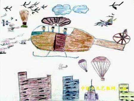 直升飞机油画棒儿童画