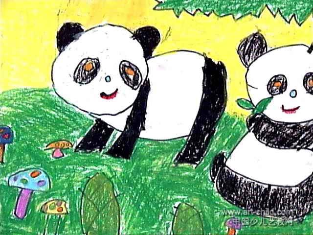 可爱的小熊猫儿童画3幅 第2张