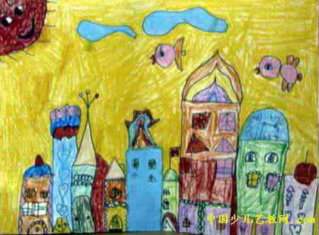 美丽的城堡儿童画属于油画棒画,长332px,宽450px,作者李兰,来自中原区