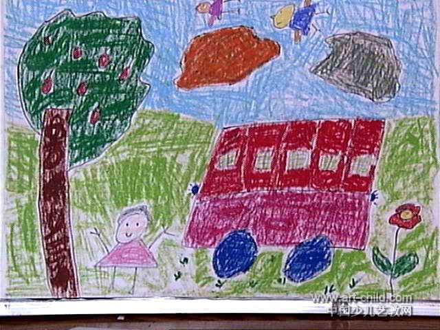 汽车 儿童画 范英琪/我的大汽车儿童画属于油画棒画,长480px,宽640px,作者范...
